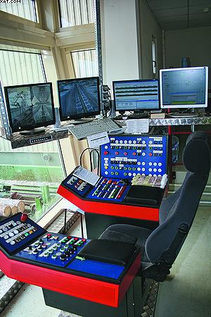 Рабочее место оператора линии сортировки бревен