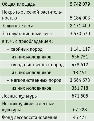 Таблица 1. Площадь земель лесного фонда, га