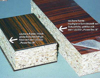 Рис. 4. Чистая кромка при обработке двумя дробителями (слева) и кромка высокоглянцевого ламината с защитной пленкой (справа)