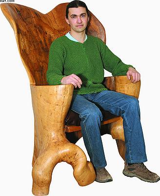 Кресло «Трон». Изготовлено из цельного дупла старого дуба