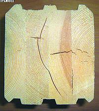 Рис. 1. Растрескивание клееного бруса в торцах [1]