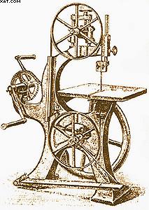 Рис. 1. Столярный ленточнопильный станок конца XIX века с ручным приводом обращения пилы