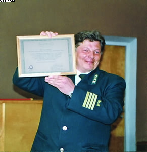 Осипов Василий Максимович (бывший руководитель ГУ «Прилузское лесничество») на церемонии вручения FSC-сертификата