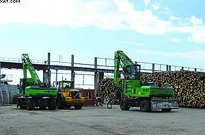 Лесоперегружатели Sennebogen на складе сырья «Талион Терра»