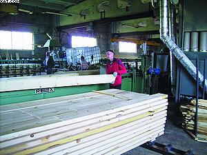 На оборудовании компании REX простругивают доски и профилируют ламели, склеенные в брус