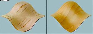 Результаты облицовывания выпукло-вогнутой поверхности обычным и пластифицированным шпоном