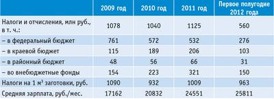 Таблица 3. Основные финансовые показатели группы ОАО «Тернейлес»