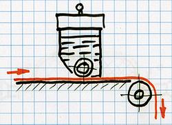 Вальцовое устройство для нанесения клея сверху