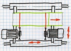 Суппорт с двумя пилами для разделения заготовок
