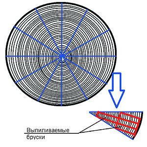 Рис. 1. Схема постава для секторно-радиального («голландского») способа раскроя бревна на заготовки