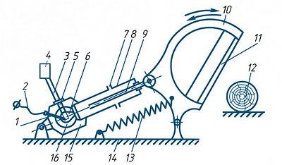 Рис. 1. Принципиальная схема работающего на порохе устройства для импульсного резания древесины