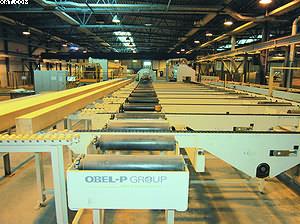 Линия Obel-P – торцовка и поштучная упаковка балок в стрейч-пленку