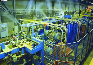 Работа системы увлажнения на фрезерно-брусующей линии