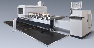 Рис. 4. Обрабатывающий центр с вертикальным фрезерным шпинделем и оснащением стола для обработки брусковых заготовок