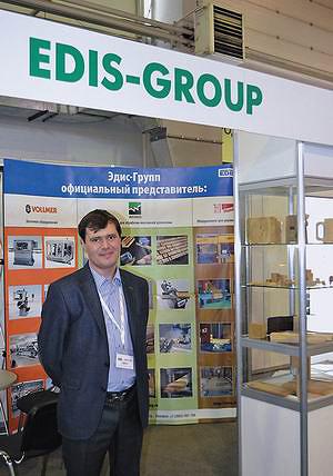 На стенде компании Edis-Group (деревообрабатывающее оборудование Weinig, заточные станки Vollmer, оборудование для производства деревянных домов Hundegger)