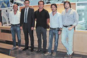 На фото слева направо: Агостино Баччи – руководитель компании, Александр Колюхов – генеральный директор Eurotech, Джузеппе Баччи, Паоло Баччи, Олег Сотников – бренд-менеджер Bacci в Eurotech
