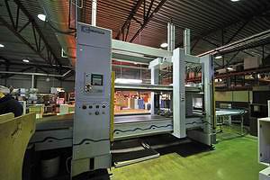 Станок Ligmatech Optimat MPP 100 с прессом для сборки секций корпусной мебели